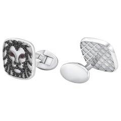 18 Karat Gold, F Color, VS Clarity, Diamond Paved Lion Cufflinks