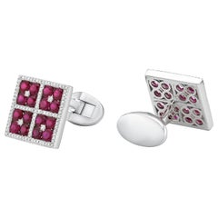 18 Karat Gold, F Color, VS Clarity, Ruby Paved Flower Square Cufflinks