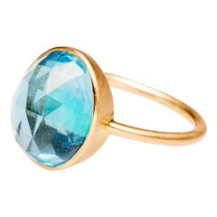 18 Karat Gold Faceted and Domed Blue Topaz Ring