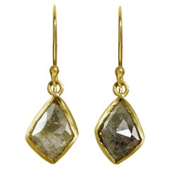 18 Karat Gold, Faceted, Raw, Diamond Drop Earrings