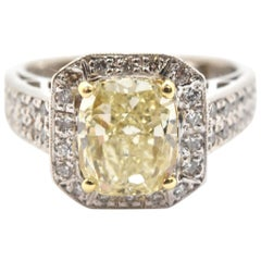 18 Karat Gold Fancy Light Yellow 2.14 Carat Cushion Cut Diamond Engagement Ring