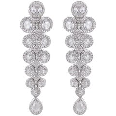 Rarever 18 Karat White Gold Pear Shape Rose Cut Diamond Drop Earrings