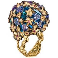 18 Karat Gold Fancy Sapphire Handmade Cocktail Ring