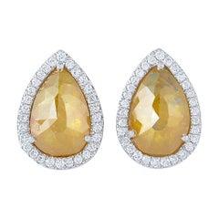 18 Karat Gold Fancy Slice Diamond Stud Earrings