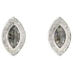 18 Karat Gold Fancy Slice Marquise Diamond Stud Earrings