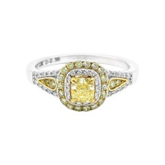 18 Karat Gold Fancy Yellow Diamond and White Diamond Double Cluster Ring