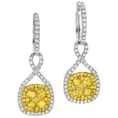 18 Karat Gold Fancy Yellow Diamond Pave Earrings