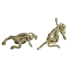 18 Karat Gold Figurine Mismatched Stud Post Earrings Asymmetric Modern Pair