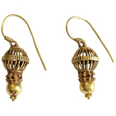 18 Karat Gold Traditional Earrings from India