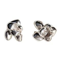 18 Karat Gold Film Award Transformer Iris Blossom Contemporary Stud Earrings