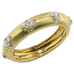 18 Karat Gold Florentine Engraved Diamond Eternity Band, Made in Italy