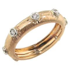 18 Karat Gold Florentine Engraved Diamond Eternity Band, Made in Italy