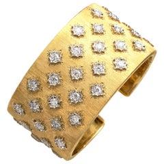 18 Karat Gold Florentine Style Diamond Cuff Bracelet