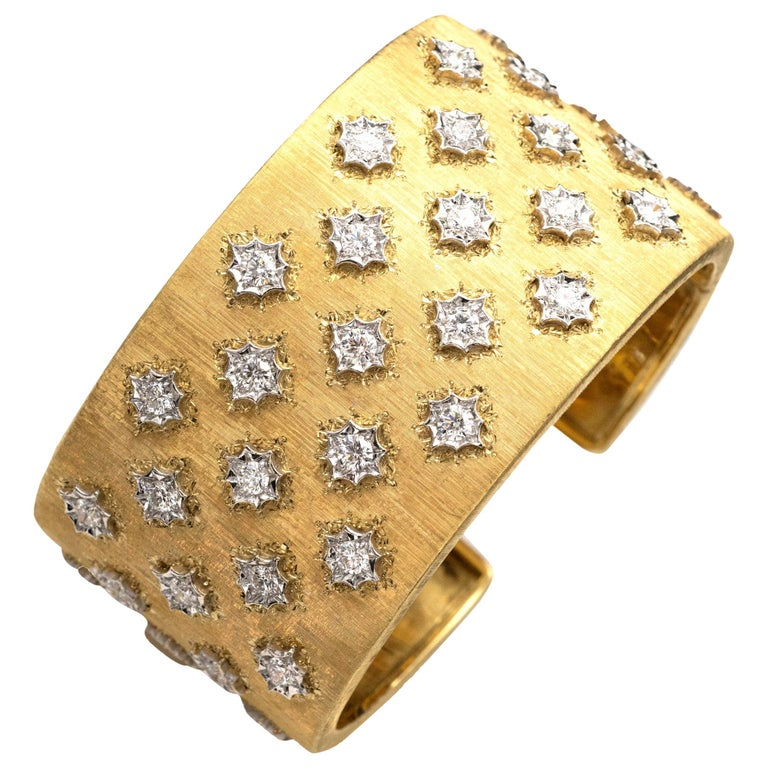 18 Karat Gold Florentine Style Diamond Cuff Bracelet For Sale