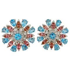 18 Karat Gold Flower Earrings with Blue Topaz, Pink Tourmaline and Diamonds