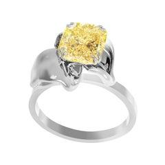 18 Karat Gold Flower Ring with GIA Certified 2.2 Carat Fancy Yellow Diamond