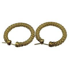18 Karat Gold Fope Hoop Earrings 10.7 Grams