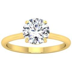 18 Karat Gold Four Prong Solitaire 1 Carat Round Brilliant Diamond F VS2 GIA