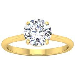 18 Karat Gold Four Prong Solitaire 1 Carat Round Brilliant Diamond H VS2 GIA