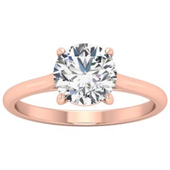 18 Karat Gold Four Prong Solitaire 1.5 Carat Round Brilliant Diamond H VS2 GIA