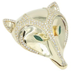 "18 Karat Gold ""Fox Head"" Clip with over 3 Carat of Diamonds and 2 Emeralds"