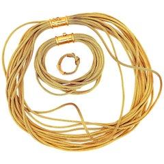 18 Karat Gold Fox Tail Necklace Bracelet Ring Rope Set