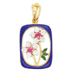 18 Karat Gold French Enamel Ruby Diamond Pendant Necklace