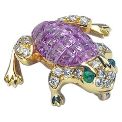 18 Karat Gold Frog Brooch, Invisibly Set Pink Sapphires, Diamonds and Emerald