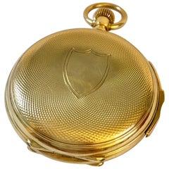 18 Karat Gold 19th Century Swiss Full Hunter Quarter Repeater Pocket Watch