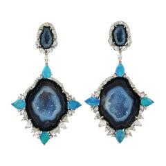 18 Karat Gold Geode Opal Sapphire Diamond Earrings