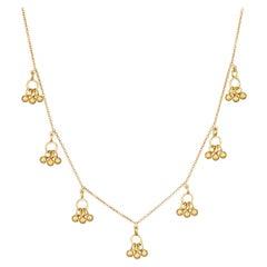 18 Karat Gold Ghungroo Pendants Hanging Along 18 Karat Gold Chain