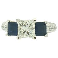 18 Karat Gold GIA 1.51 Carat Princess Cut Diamond Sapphire 3-Stone Ring
