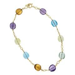 18 Karat Gold Goshwara Beaded Multicolored Tumbled Gemstone Necklace