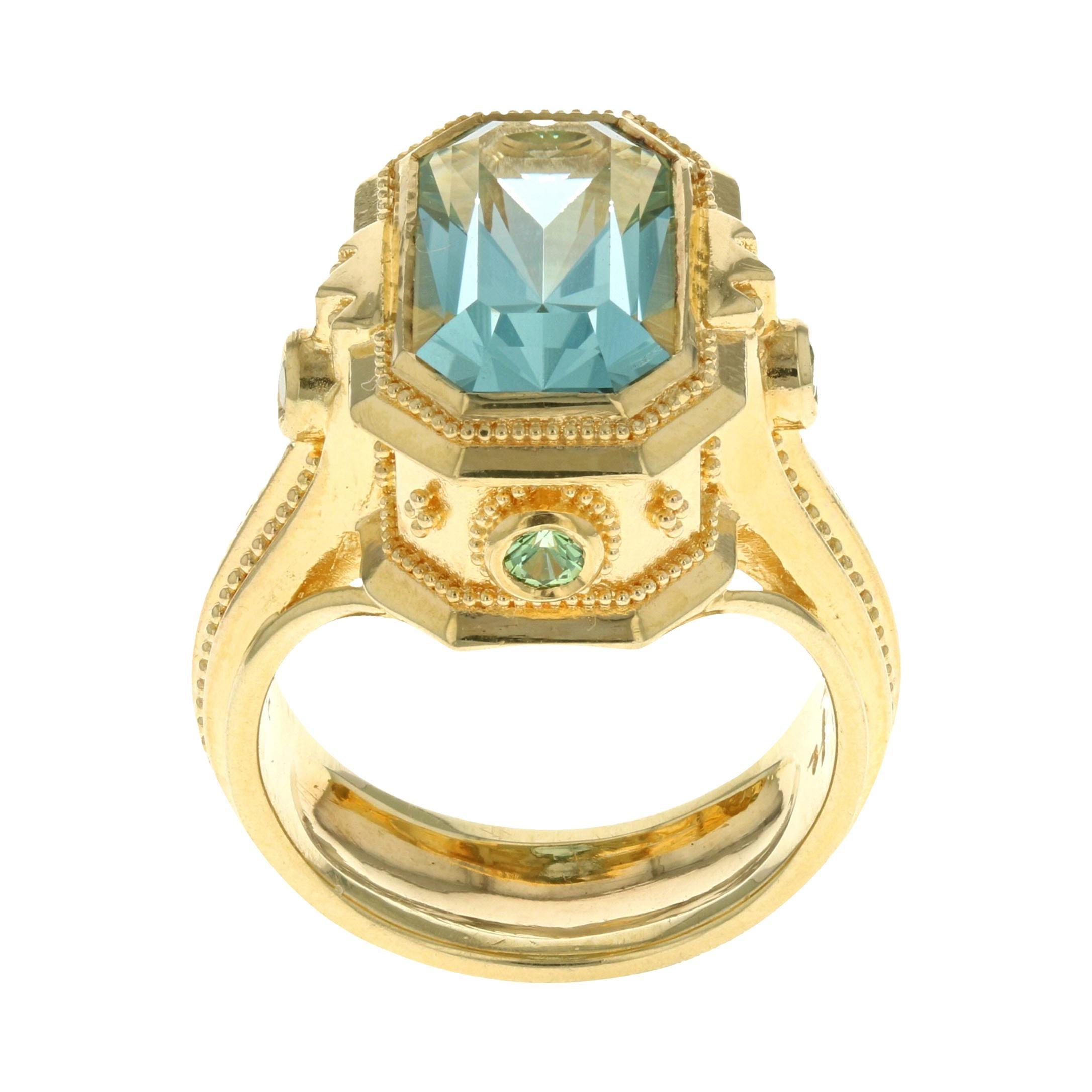 18 Karat Gold Granulation Kent Raible Aquamarine Cocktail Ring with Green Garnet