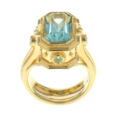 18 Karat Gold Granulation Kent Raible Aquamarine Cocktail Ring with Green Garnet