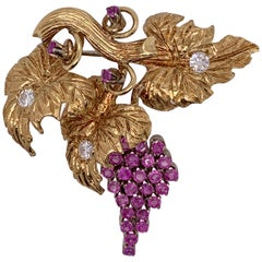 18 Karat Gold Grapevine Brooch with 2 Carat Rubies and .45 Carat Diamonds