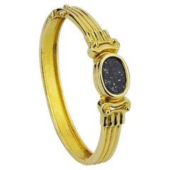 18 Karat Gold Greek Lapis Lazuli Bangle