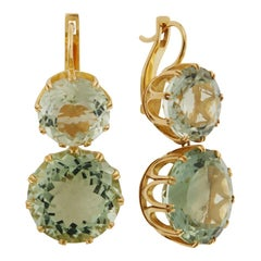 18 Karat Gold & Green Amethyst Crown Earrings