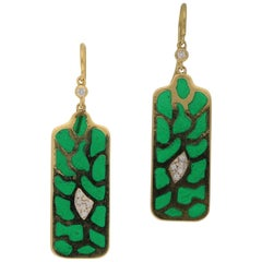 Green Plique-A-Jour Enamel Diamond Drop Earrings in 18 Karat Yellow Gold 0.16cts