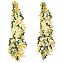 "18 Karat Gold Green Enamel ""Leaf"" Motif Drop Earrings"