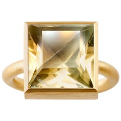 18 Karat Gold Green Fluorite Cognac Quartz Two-Stone Modern Cocktail Ring 7-13