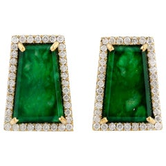 Jade Diamond 18 Karat Gold Stud Earrings