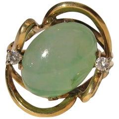 18 Karat Gold Green Jade Diamond Dinner Cocktail Ring