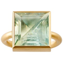 18 Karat Gold Green Quartz or Blue Fluorite Two-Stone Modern Cocktail Ring 7-13