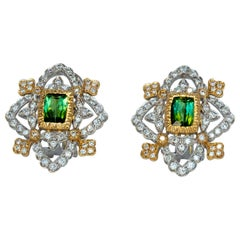 18 Karat Gold Green Unheated Natural Tourmaline and Diamonds Earrings