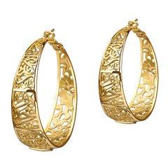 18 Karat Gold Gypsy Floral Hoop Earrings
