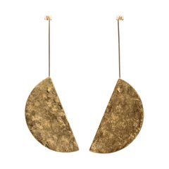 18 Karat Gold, Half Moon Gold Leaf and Silver Reversible Earrings