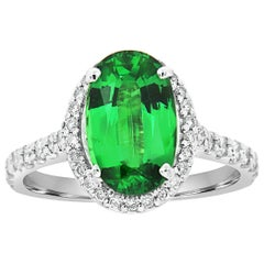 18 Karat Gold Halo Oval Green Tsavorite Diamond Ring GIA 'Center-2.86 Carat .'