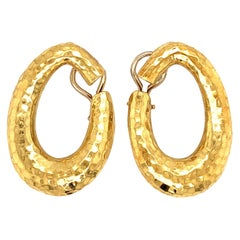 18 Karat Gold Hammered Hoop Earrings