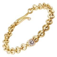 18 Karat Gold Hammered Link Bracelet with Brilliant Cut Diamond Charm 0.72 Carat